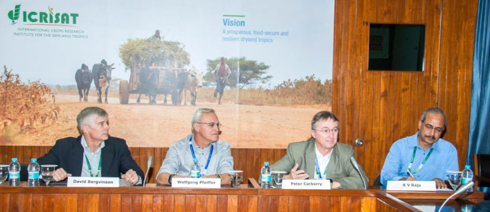 Dr David Bergvinson, Director General, ICRISAT; Dr Wolfgang Pfeiffer, Global Director, Product Development and Commercialization, HarvestPlus; Dr Peter Carberry, Deputy Director General – Research, ICRISAT; and Dr KV Raju, Theme Leader, Policy and Impact, ICRISAT, at the review and planning meet for the Pearl Millet Biofortification project. Photo: PS Rao