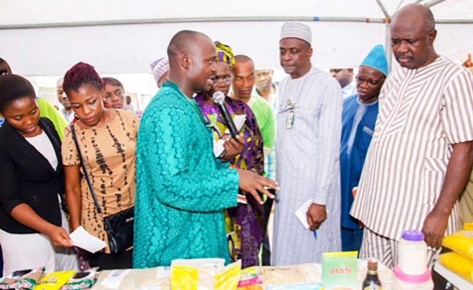 Mr Aliyu Adinoyi, Scientific Officer, explaining about displayed crops and products to Senator Lokpobiri. Photo: Hakeem Ajeigbe, ICRISAT