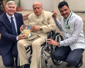 Dr Bergvinson, Director General ICRISAT and Dr Padhee, Director, Country Relations and Business Affairs with Prof Swaminathan during his book launch.