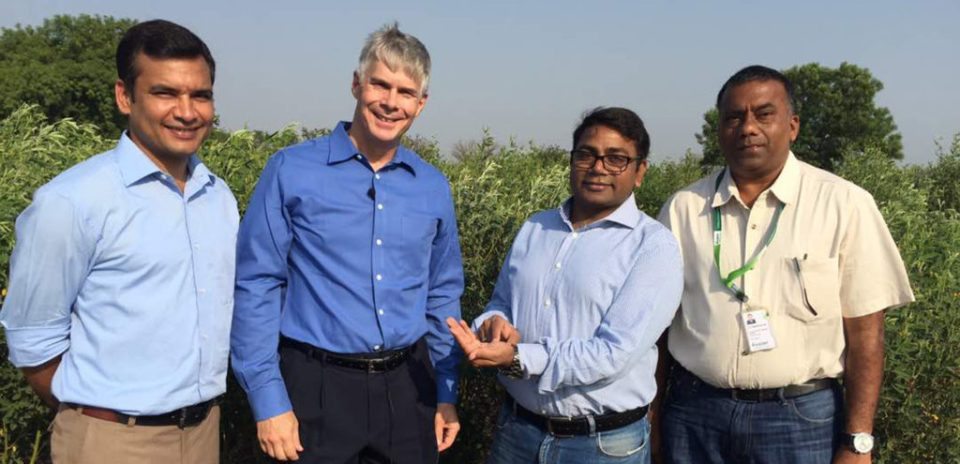 L-R: Dr Rachit Saxena, Senior Scientist (Pigeonpea Genomics), Dr David Bergvinson, Director General ICRISAT, Dr Rajeev K Varshney,Research Program Director (Genetic Gains) and Dr Sameer Kumar, Principal Scientist (Pigeonpea Breeding). Photo: ICRISAT