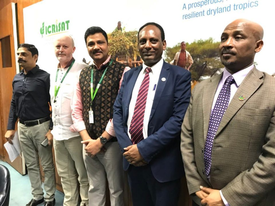 Dr. G. Malsur, Dr. Anthony Whitbread, Dr. Arabinda Padhee, HE Eyasu Abraha Alle and HE Mr. Tesfaye Mengiste Dori on 09 March 2018 at ICRISAT, Hyderabad