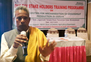 Farmer group leader Bhubaneswar Biswal from Karmat village, Kalahandi District, Odisha shares his experience after experimenting with the new groundnut variety. Photo: P Janila, ICRISAT
