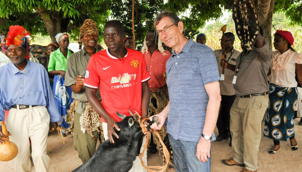 Dr Nigel Kerby with farmers in Malawi. Photo ICRISAT