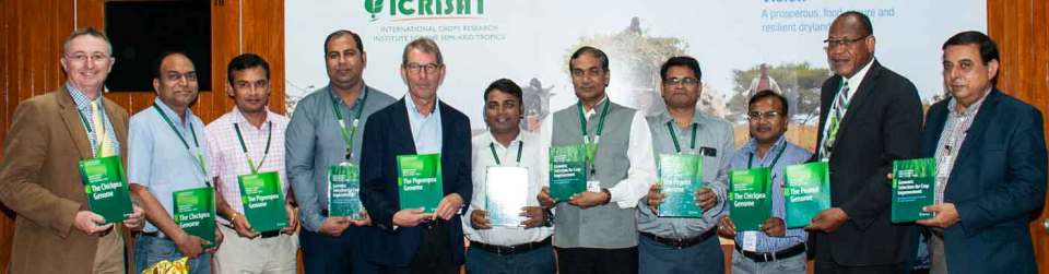 Book series on genomics and crop improvement released at the Board meeting. Photo: PS Rao, ICRISAT