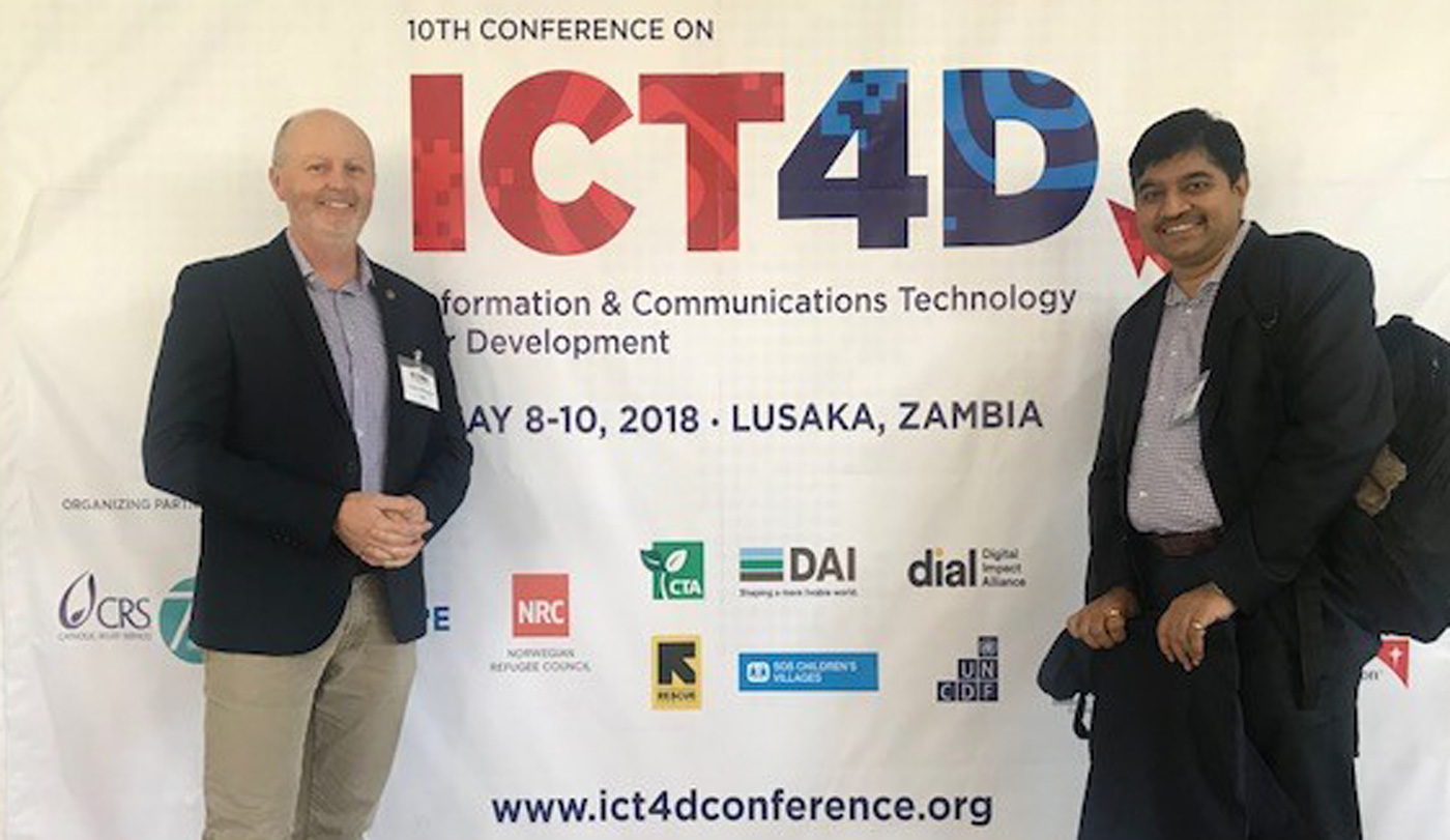 The author with Mr Ram Dhulipala, Theme Leader – Digital Agriculture & Youth, ICRISAT, at the tenth ICT4D conference. Photo: R Dhulipala, ICRISAT