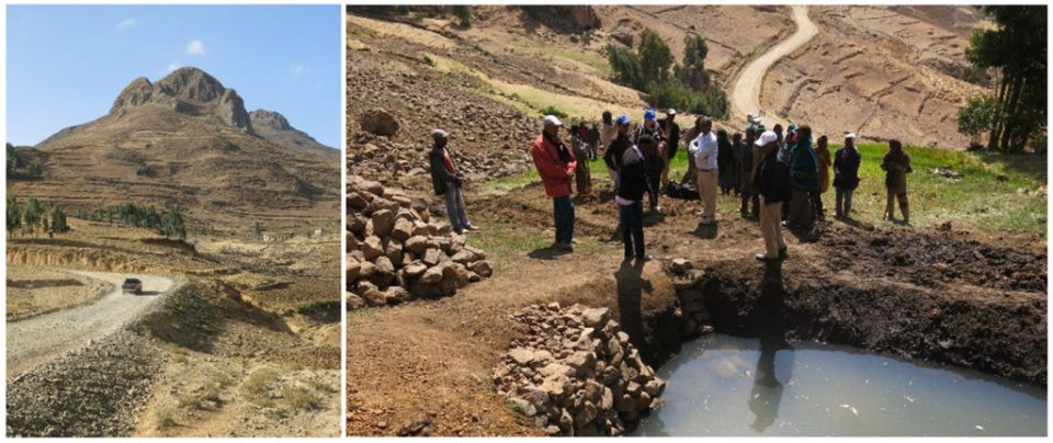 A presentation made at the workshop shows the stark difference in landscapes in Ethiopia – (L) without interventions and (R) with sustainable intensification. Photo: ICRISAT