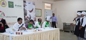 The judging panel (left to right), Mrs Suchitra Muralidharan, celebrity Chef from Kannada cooking show Oggarane Dabbi (Spice Box), Chef Vinod K Batti – Range and Commercial Manager, IKEA Food, India, Dr Anitha Seetha, Nutrition Scientist, ICRISAT, and Chef Ramaswamy Selvaraju, Executive Chef, Vivanta by Taj, Bengaluru, Chef Raja, Vivanta by Taj, Bengaluru. Photo: Parkavi Kumar, ICRISAT