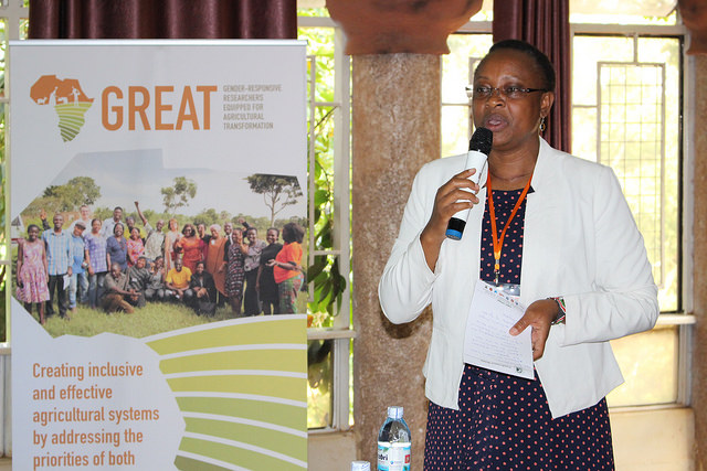 Dr. Esther Njuguna-Mungai, ICRISAT Gender Scientist, giving remarks during the opening of the GREAT/TLII Customised Gender Training in Kampala. Photo: GREAT