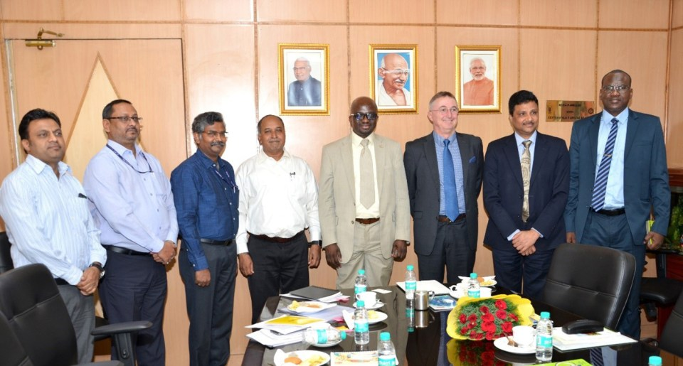 (L-R): Mr Ravi Prakash, Deputy Secretary, Protocol, International Cooperation and International Relations, DARE; Dr J Mishra, ADG-IT, ICAR; Dr A Arunachalam, ADG, International Relations, ICAR; Mr Sushil Kumar, Additional Secretary, DARE and Secretary, ICAR; Mr Ibrahima Guimba-Saïdou; Dr Peter Carberry, Director General, ICRISAT; Dr A K Padhee, Director Country Relations, ICRISAT and Mr Boureima Souleymane, Counsellor, Embassy of the Republic of Niger to India. Photo: ICAR/DARE