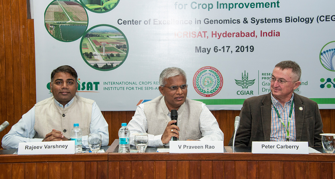 Dr V Praveen Rao, Hon'ble Vice-Chancellor, PJTSAU (in the center) with Dr Carberry (Right) and Dr Varshney at the inaugural of two-week training program.