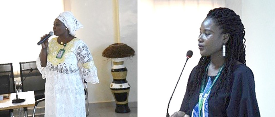 From Left to Right: Presentation on aflatoxin management in groundnut by Dr Konaté; and presentation of ICRISAT and the Smart Food Campaign by Ms Diama.