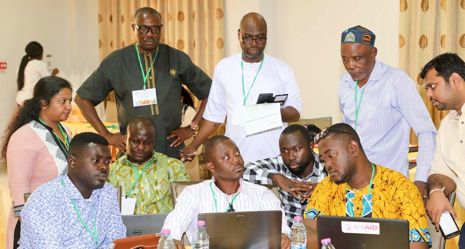 An exercise with participants to add information in the online seed catalog and seed roadmap. Photo: ICRISAT
