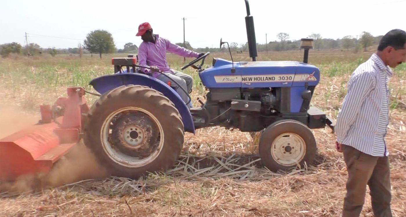A shredder in action in a field in Karnataka. Photo: ICRISAT