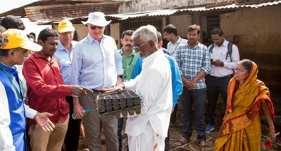 Farmer Bhimrao Mulgi (holding trays) interacts with the visitors. Photo: S Punna, ICRISAT