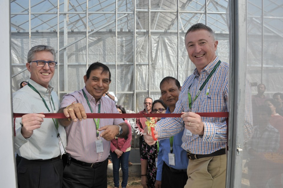 Dr Jan Debaene, Dr Kiran Sharma and Dr Peter Carberry at the inaugural of the facility.
