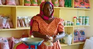 Ms Zuwena Hamisi Chipangula runs the Tunduru Agro-Dealer shop in Tanzania. Photo: Ndichu J