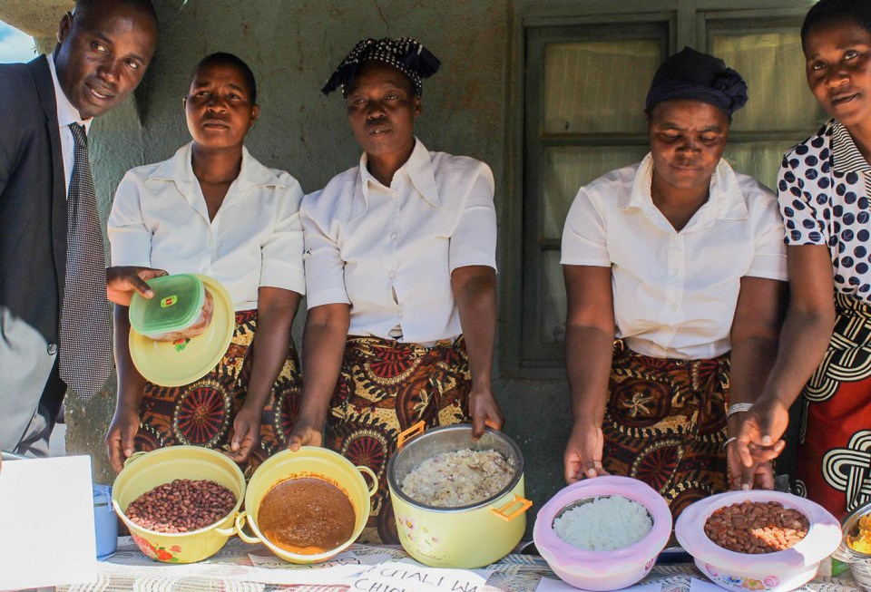 Mrs Juliana Maliro, third from left, during a cooking demonstration. Photo: MSIDP