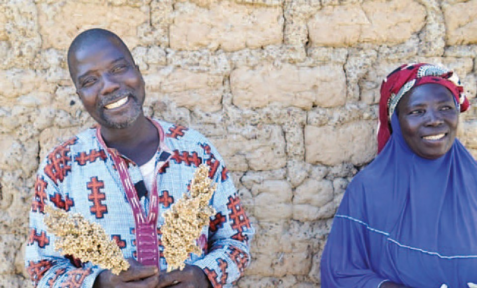 Fousseyni Mariko and his wife's Diala Sangaré choose to grow sorghum and millets on their farm in Mali. Photo: A Diama, ICRISAT