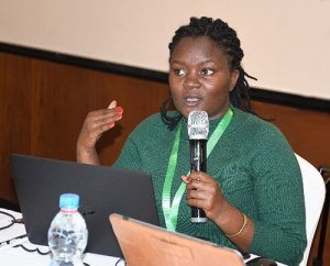 Rachel Gitundu during the launch of seed revolving fund.