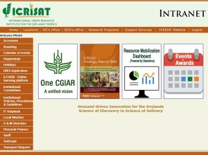 The RM dashboard on ICRISAT's intranet. Photo: ICRISAT