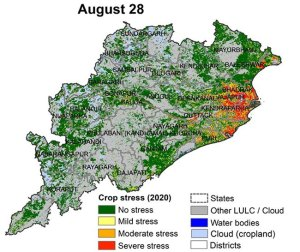 Map produced by remote sensing shows real-time crops stress in Odisha.