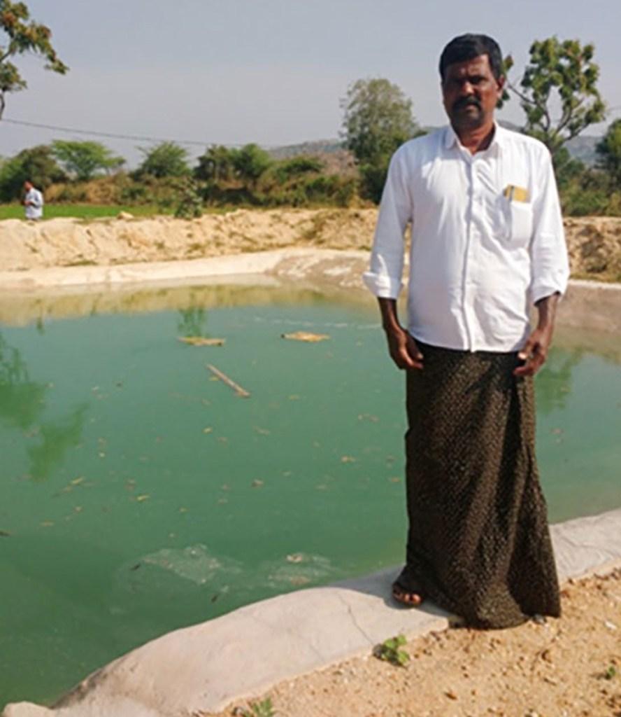 A newly constructed farm pond at Ramachandra Reddy's farm in Kondampalle village;
