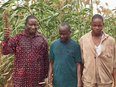 Mr Noyeza Bonzi (far left) with ICRISAT staff and his son Augustin. Photos: M. Magassa, ICRISAT