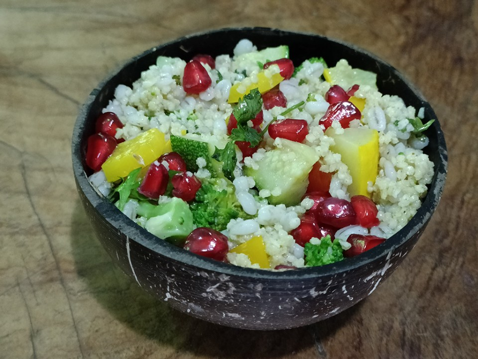 A salad preparation with foxtail millet and barley. Millets can be combined with other cereals. Photo: Joanna Kane-Potaka