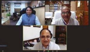 Dr Varshney, ICRISAT, Dr RC Agrawal and Dr TR Sharma, ICAR, during the online lecture. Screenshot: N Mishra, ICRISAT