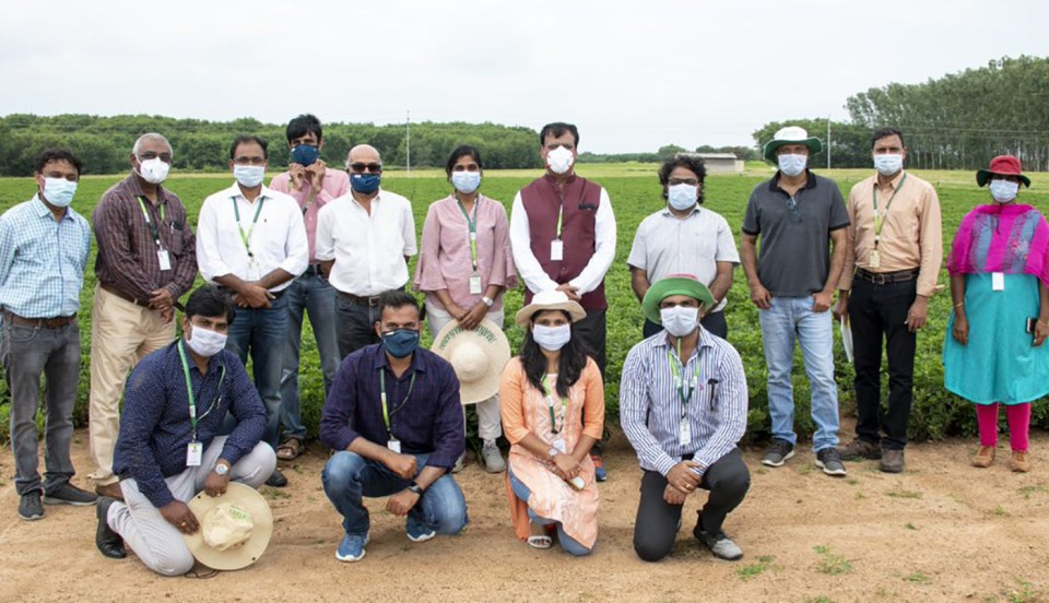 Board Chair with the team that facilitated and participated in the field demonstrations.  Photos: S Punna, ICRISAT