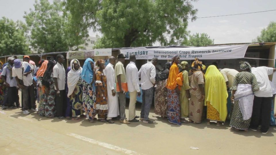 Farmers queuing up to get mini seed packs of improved varieties. Photo: Moustaph Diallo, Macina Film