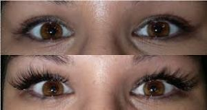 before and after Eyelash Extensions Gold Coast