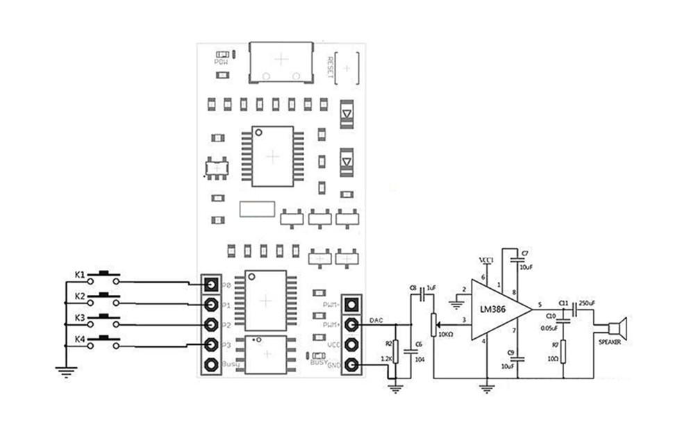WT588D-U-32M Voice Module Mini USB 32Mbit WAV for 0.5W