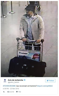 Belgian police released a picture of a suspect of the Zaventem Airport attacks