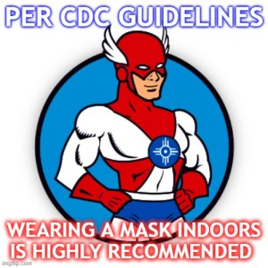 Image reminding that CDC guidlines say that wearng a mask is highly recommended