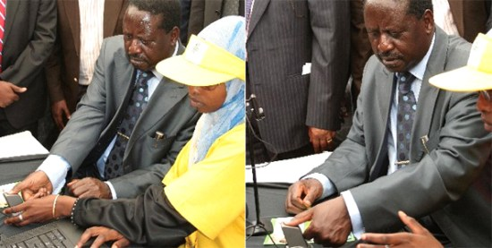 Raila Odinga registering to vote