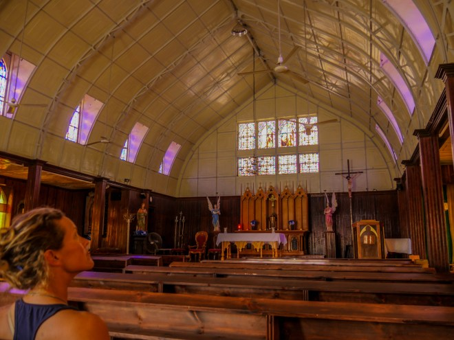 Inside the unusual Santa Rosalía church, which was first built for the 1898 World's Fair in Paris. It was broken down and shipped around Cape Horn to the French mining settlement in Santa Rosalía, purportedly at the request of the wives of the first mine managers.