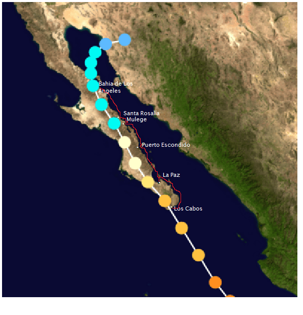 The track of Hurricane Odile. Each dot represents the progress every six hours. All orange-to-tan dots are hurricane status, and light blue is tropical storm status (on the Saffir-Simpson scale for measuring hurricane wind speed.) The red line is the approximate track of Oleada.