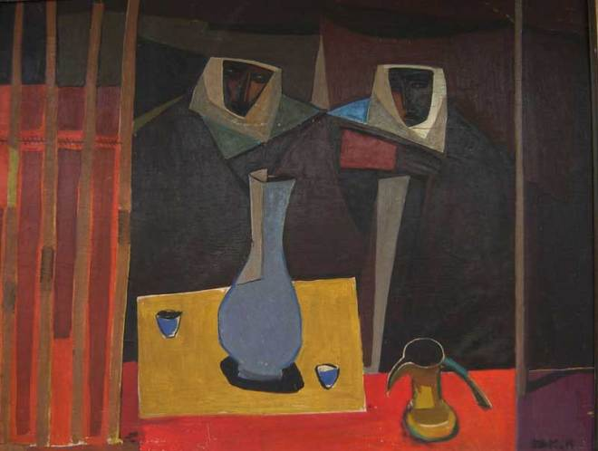 Bedouin Tent, by Faiq-Hassan, Oil on Wood, 58 by 74 cm, 1950.