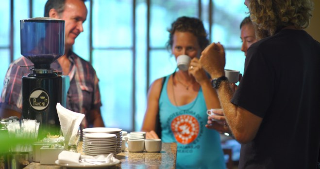 """""""Cupping"""" coffee at Finca Argovia with Bruno, who might as well have coffee in his veins, as our guide."""