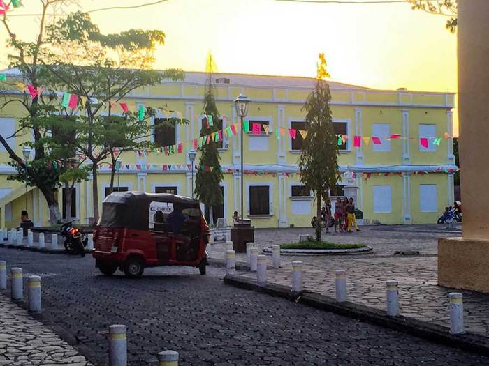 The town square in Amapala. Kids loiter here when not in school, the only place in town with wifi.
