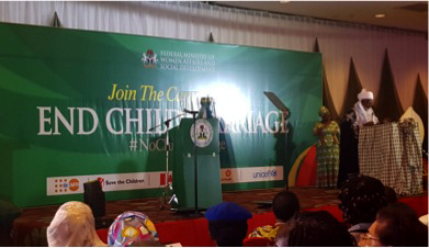 A community leader speaks out against child marriage at the Launch of the Campaign to End Child Marriage in Nigeria