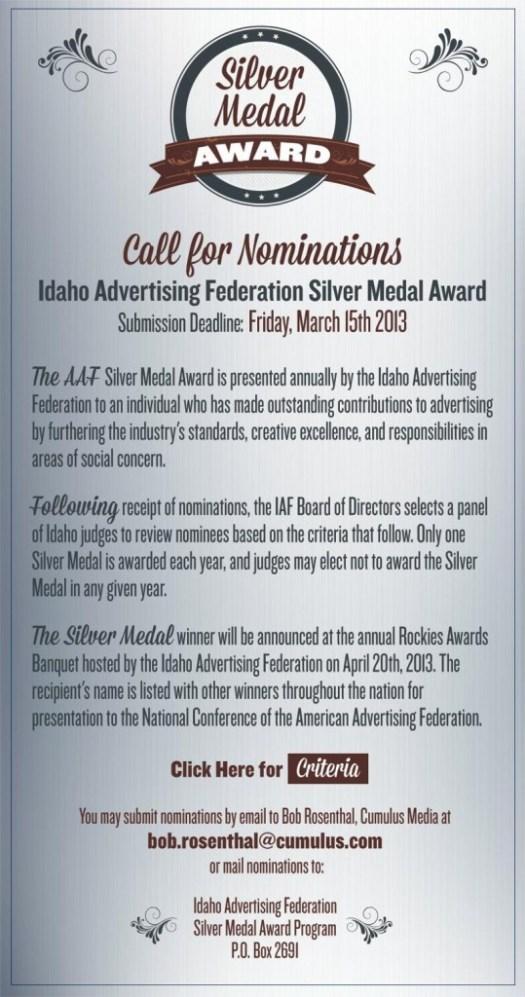 Silver Medal Award - 2013
