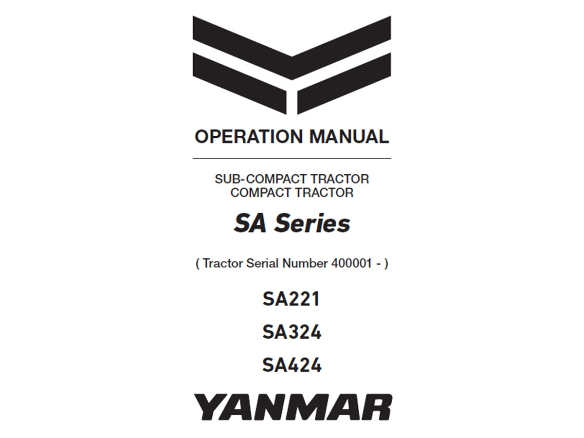 Yanmar SA-Series Operation Manual, Serial Numbers 400001+