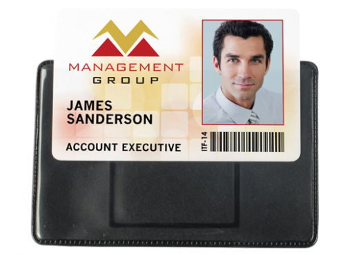 Horizontal Badge Holder Shielded Magnetic Clear Vinyl