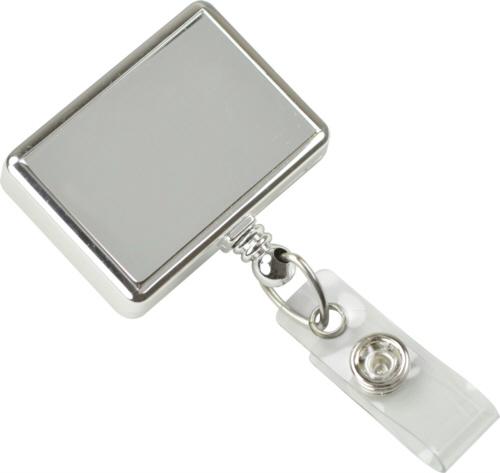 Rectangle Chrome Economy Badge Reel Swivel Clip