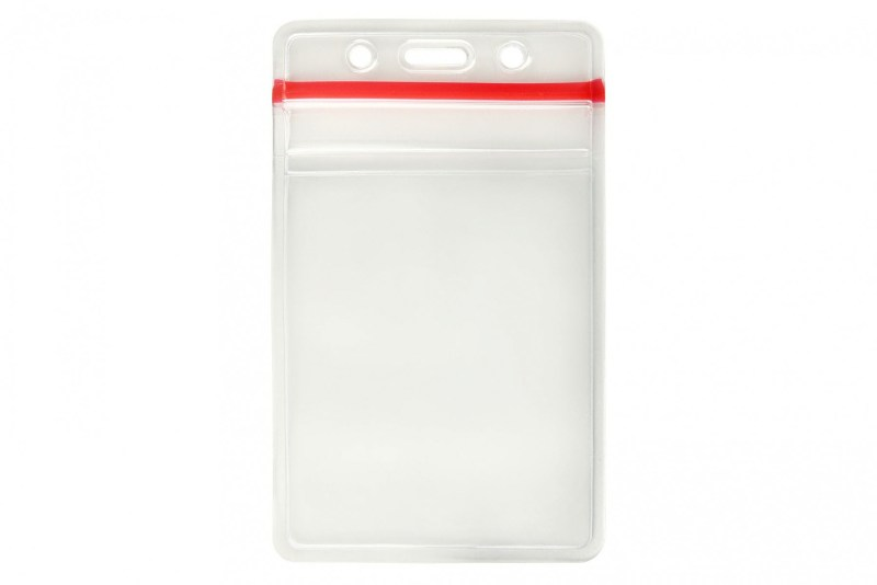Clear Vinyl Vertical Badge Holder with Resealable Top