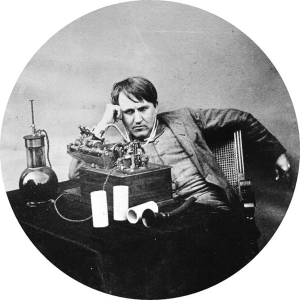 Edison, with an early phonograph