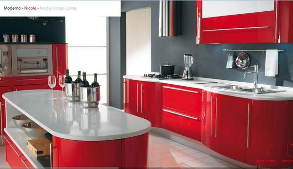 Cucina Moderna Rossa E Bianca