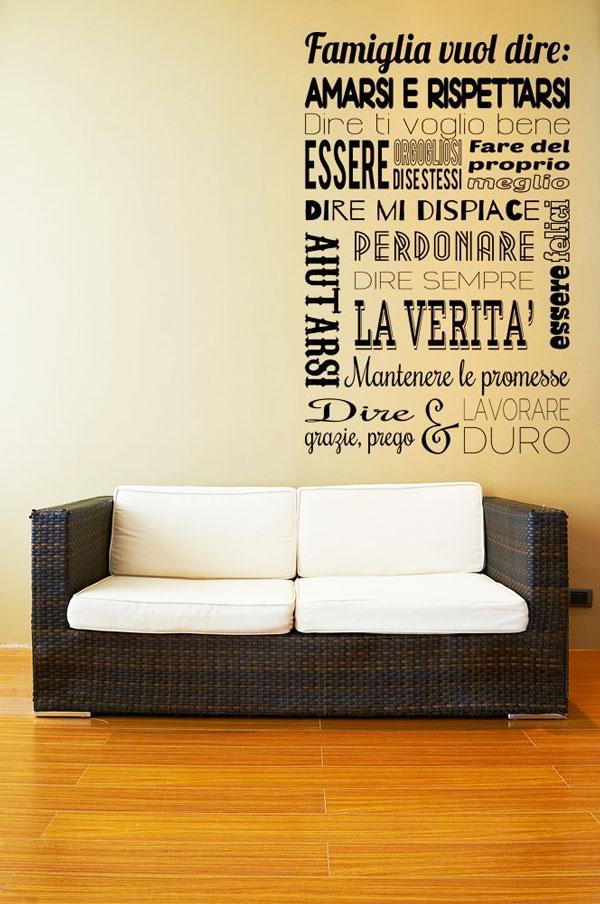 Frasi murali Abbinare una scritta al divano